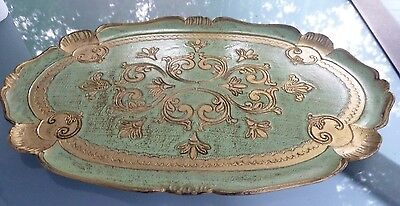 Vintage Italian Florentine Gold Gilt Serving Tray Green & Gold Made In Italy