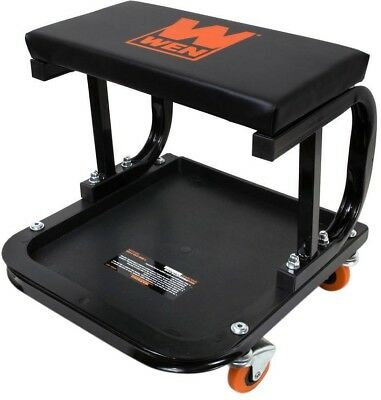 Rolling Mechanic Seat, 250 lb. Capacity, Onboard Storage, Swiveling Casters