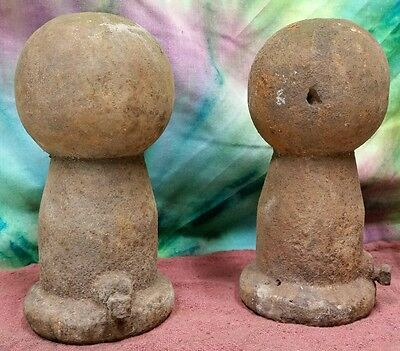 Vintage CAST IRON FINIAL top round metal fence post topper architectural salvage