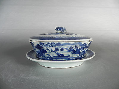 Chinese Export Canton Blue and White Bonbon Dish with Bottom Tray