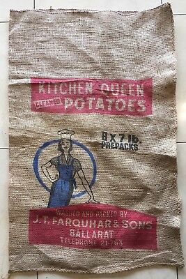 Vintage Hessian Potato Sack Kitchn Queen Cleaned Potatoes Farquhar & Sons