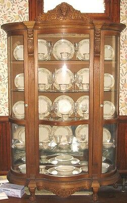 Victorian style China Curio Cabinet Pulaski Furniture Co Golden Oak Carving