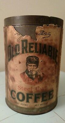 RARE - Antique Old Reliable Coffee Tin Canister with Lid - NR!