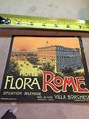 Vintage luggage label large Flora Rome circa 1930's