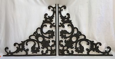 Pair Large Heavy Antique Victorian Ornate Cast Iron Wall Shelf Brackets