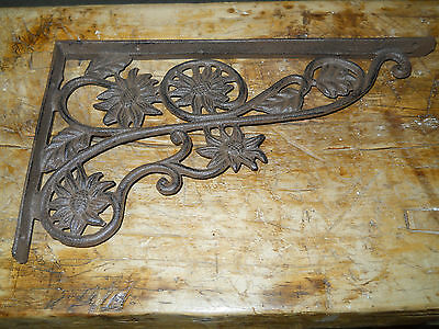 4 Cast Iron Antique Style SUNFLOWER Brackets, Garden Braces Shelf Bracket