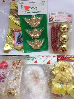 Vintage 6 Package Christmas Decoration Ornament Lot Santa Ball Angel