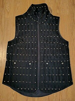 Sharon Young Women's Small Quilted Vest Black Gold Sequin Zip Up Snap Pockets B7