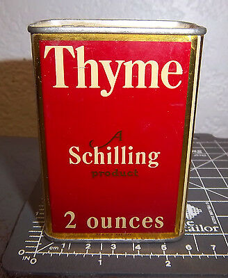 Vintage Schilling Thyme 2 oz spice tin, silver color top, great collectible
