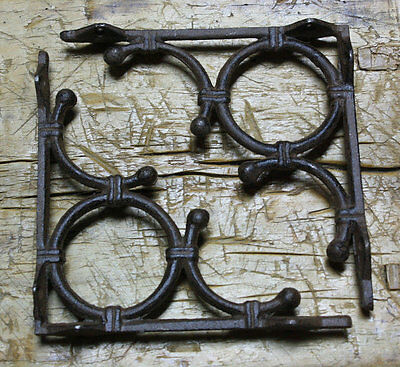 6 Cast Iron Antique Style LIFE RING Brackets, Garden Braces Shelf Bracket Bamboo