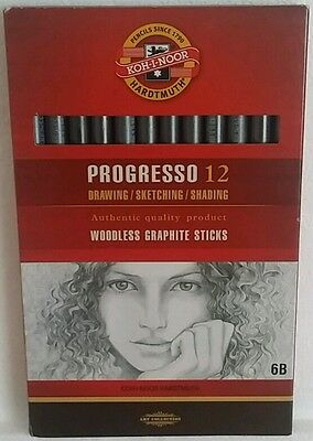 Koh-I-Noor - Progresso 12 Woodless 6B Graphite Pencils