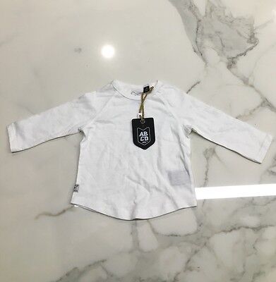 BNWT Size 0 Baby Boys White Long Sleeved Top