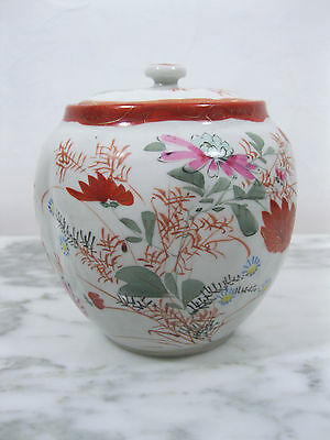 Antique Chinese Qing Period Porcelain Covered Tea Caddy Ginger Jar Hand Painted