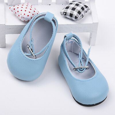 Handmade Fashion Blue Shoes for 18 inch Girl Doll Party Baby Gift 7.3cm Nice Hot