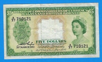 1953 Malaya & British Borneo $5 Five Dollars Note P-2a