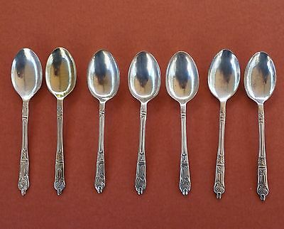 Vintage 7 EPNS Apostle Tea Spoons Coffee as found Silverplated