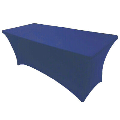 8' ft. Spandex Fitted Stretch Tablecloth Table Cover Wedding Banquet Royal Blue