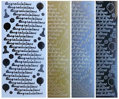 CONGRATULATIONS Peel Off Stickers Balloons Party Hats Flowers Gold Silver Black