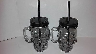 (Set of 2) Glass Skull Mason Jar Drinking Jar Cup Mug with Straw Halloween 12 oz
