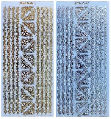 Embossed FEATHER BORDERS & CORNERS Peel Off Stickers Gold or Silver on Clear
