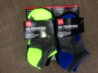 NWT 3 Pairs Under Armour UA Training YOUTH BOYS LG No Show Socks - Green or Blue