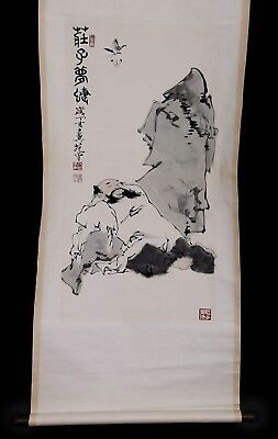 Exquisite Long Old China Scroll Hand Painting One Old Man Marked FanZeng KK755