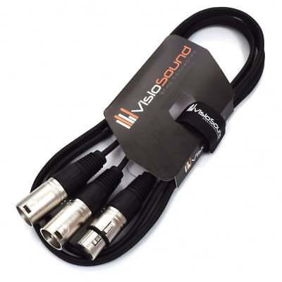 2 x Male XLR to 1 x Female XLR Microphone Splitter Lead / Combiner Mic Cable