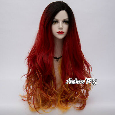 Country Lolita 75cm Long Curly Mixed Black Red Yellow Party Cosplay Wig+Wig Cap