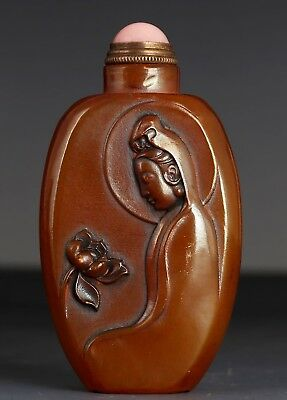 Rare Old Exquisite Chinese bowlder Snuff Box Carved Kwan-yin US191
