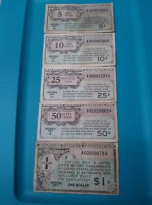 1946-1947 United States Mpc 5,10,25,50 Cents And $1.00  Series  461 Banknote.