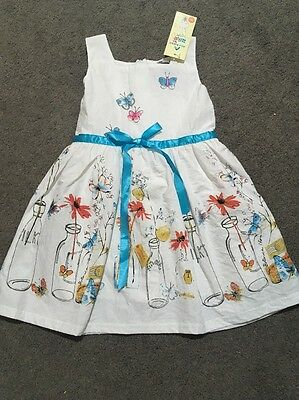 BNWT Girls Gorgeous Blue And White Dress Size 3-4 Years