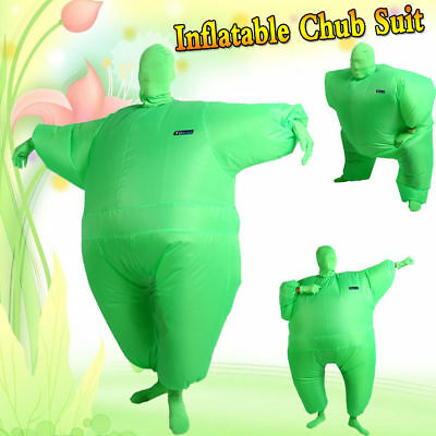 Inflatable Chub Fat Suit Fancy Dress Costume - Blow Up Halloween Party Green ZZ