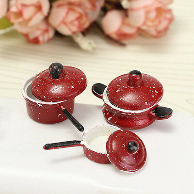 3PCS 1:12 Dollhouse Miniature Red Dot Frying Pan Pot For Kitchen Cooking Kit