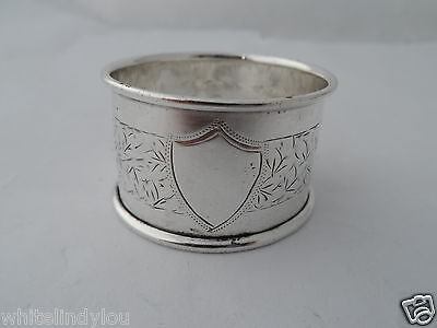 Vintage Silver Napkin Ring Chester 1906 ?  Vacant Cartouche Pretty Engraving