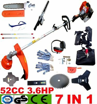 New 7 In 1 52Cc Petrol Grass Strimmer Brush Cutter Chainsaw Hedge Trimmer