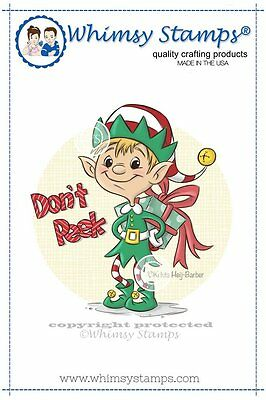 Whimsy Stamps - Cling Mounted Rubber Stamp - Don't Peek Elf - Christmas