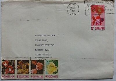 Singapore 1973 Cover With Christmas Postmark & 8 Tuberculosis Fund Rose Labels