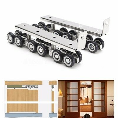 1 pair/set Sliding Wooden Door Closet Hardware Kit 12 Wheels Hangers Roller