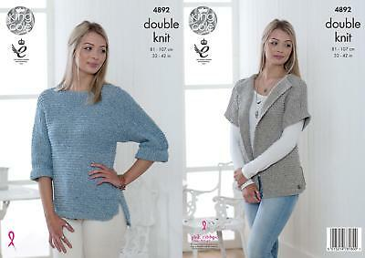 King Cole 4892 Knitting Pattern Womens Cardigan and Sweater in Authentic DK