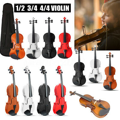 1/2 3/4 4/4 Full Size Natural Acoustic Violin Beginner With Case + Bow