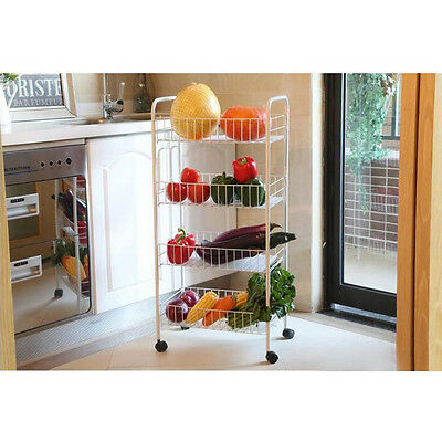 Trolley Cart Caddy Bathroom Kitchen Storage Rack Organiser Shelf Fruit Baskets