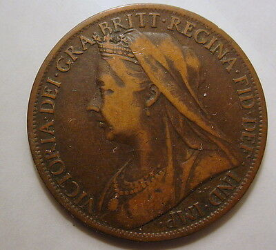 Great Britain GB UK Queen Victoria De Gra 1901 One Penny Britt Regina Nice coin