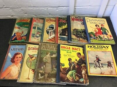 Job Lot Of 11 Vintage Childrens Annuals - 1920's To 1940's - All Listed/graded
