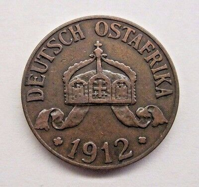 1912J Deutsch Ostafrika 1 Heller German Empire Coin.  See Pictures & Details