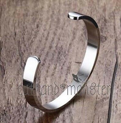 Silver Bracelet Solid Stainless Steel Plain Polished Engravable Cuff Bangle