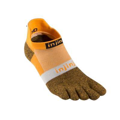 Injinji Run Lightweight No-Show Coolmax Xtralife Toe Socks - Tangerine - Medium