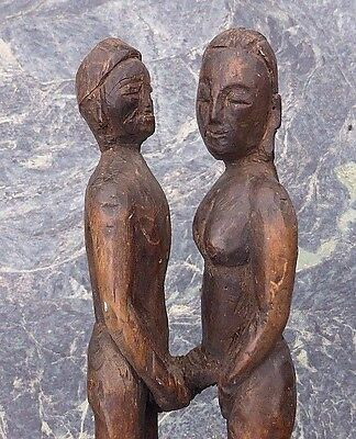 Old Mounted Nepalese Himalayas Wooden Couple In Erotic Embrace No Buddha Ganesh