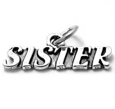 925 Silver sister love CZ Charm Beads Fit sterling Bracelet Necklace Chain #A272
