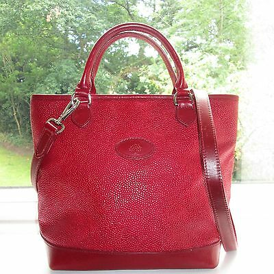 Stunning Authentic Mulberry Red Scotchgrain & Leather Hellier Shoulder Hand Bag