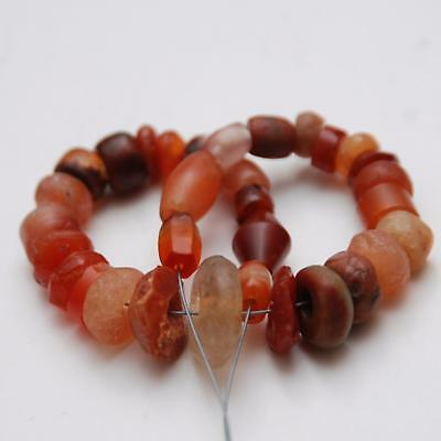"32 PCS. ANCIENT Quartz Crystal Agate Carnelian Beads_7 1/2"" Strand"